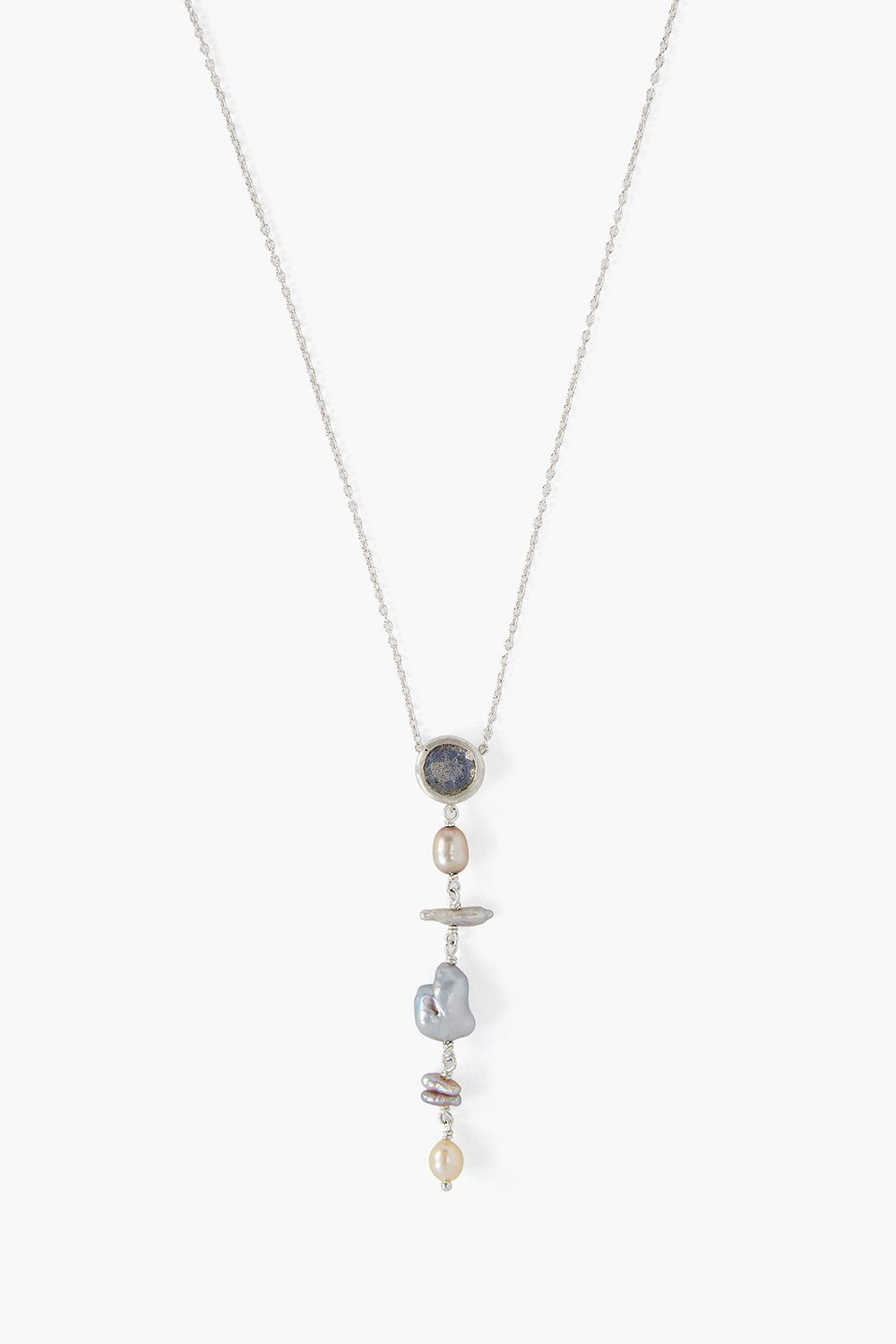 Labradorite and Pearl Tiered Necklace