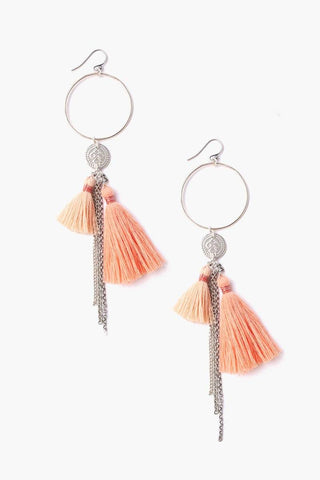 Peach Mix Tassel Hoop Earrings