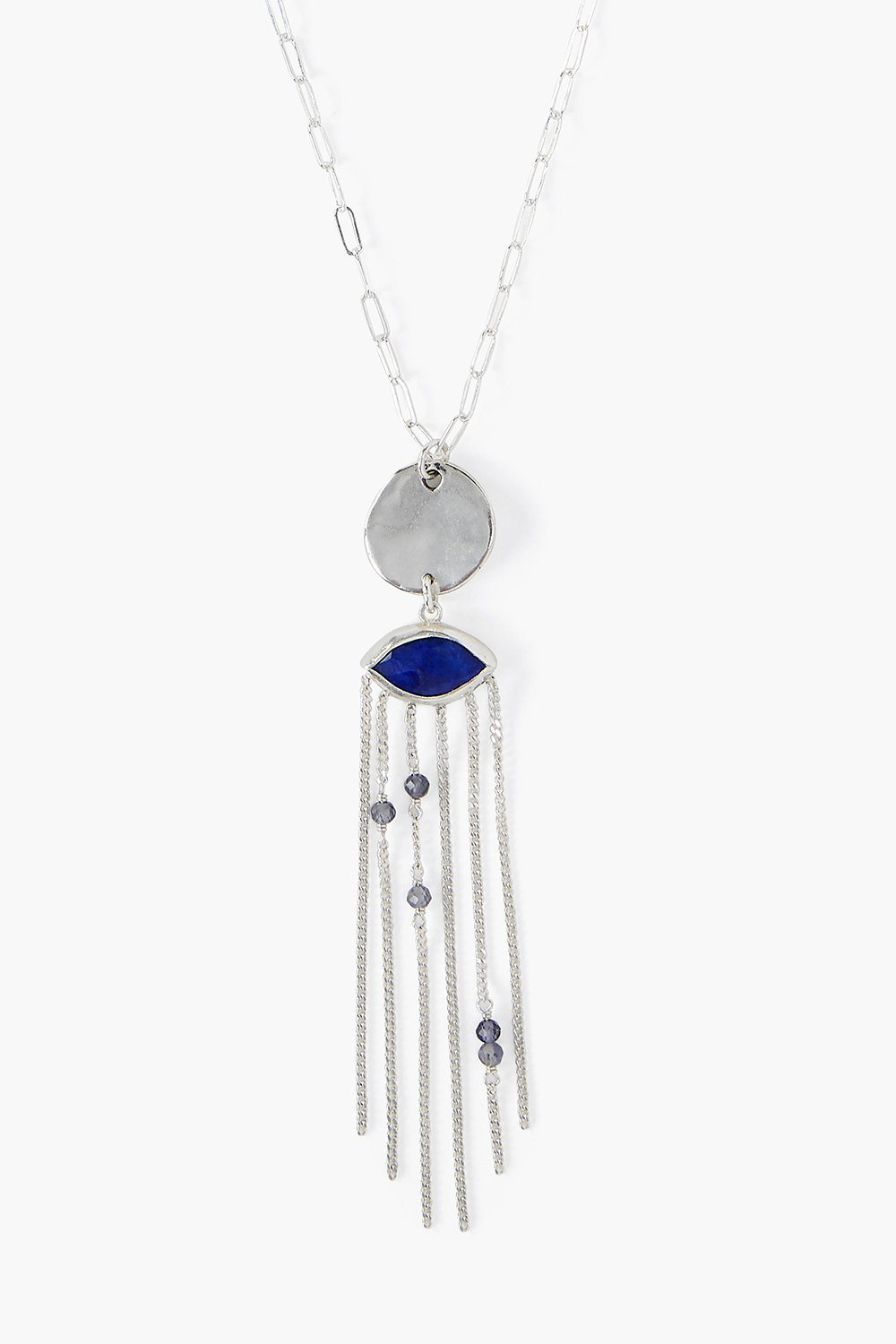 Tiered Lapis Crying Evil Eye Necklace