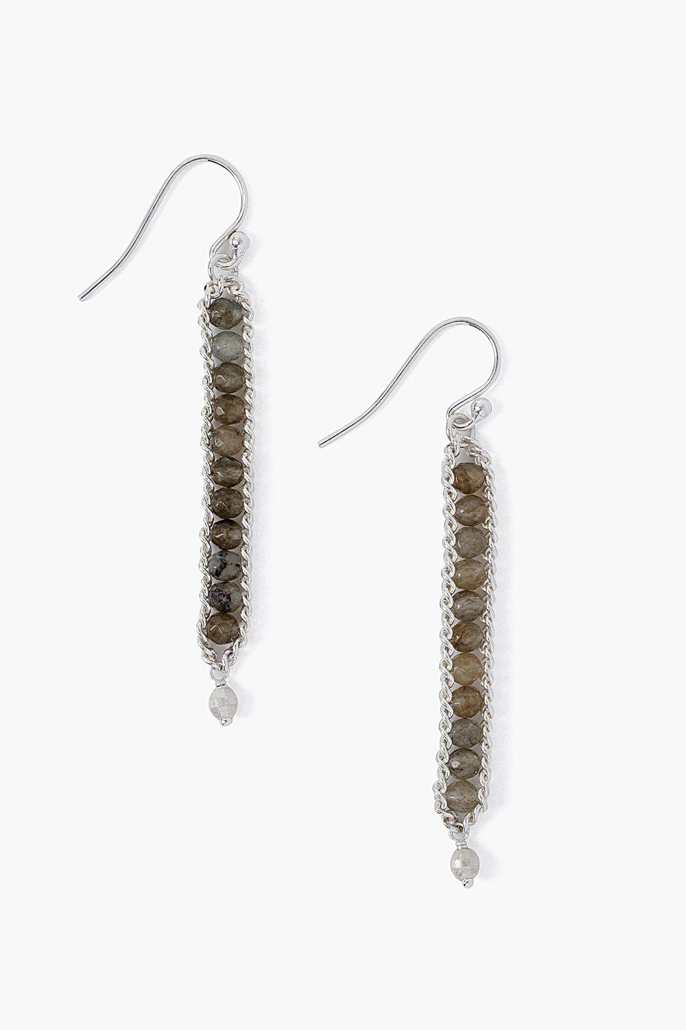 Labradorite Chain Wrap Earrings