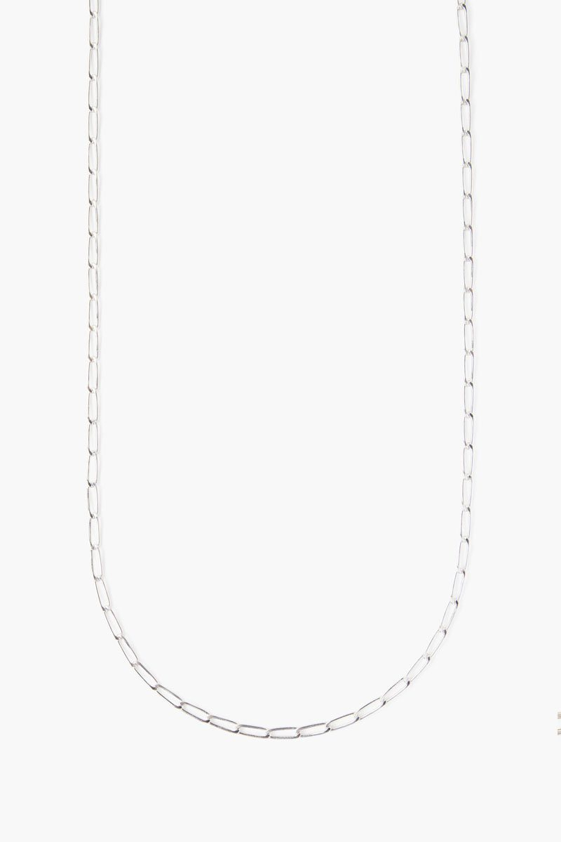 Silver Box Chain Long Necklace
