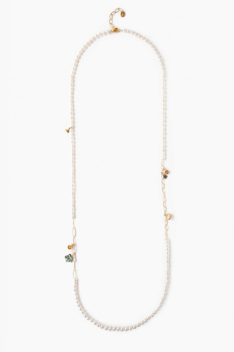White Pearl Mix Flora Necklace