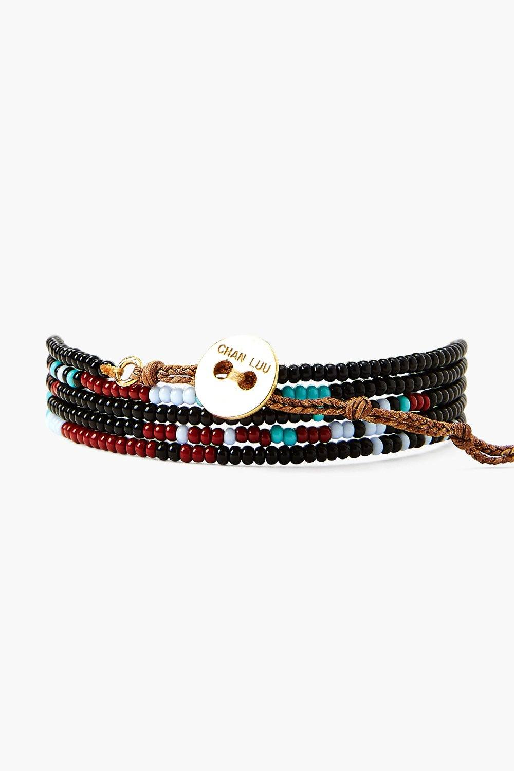 Chan Luu x Ethical Fashion Initiative Black Beaded Naked Wrap Bracelet
