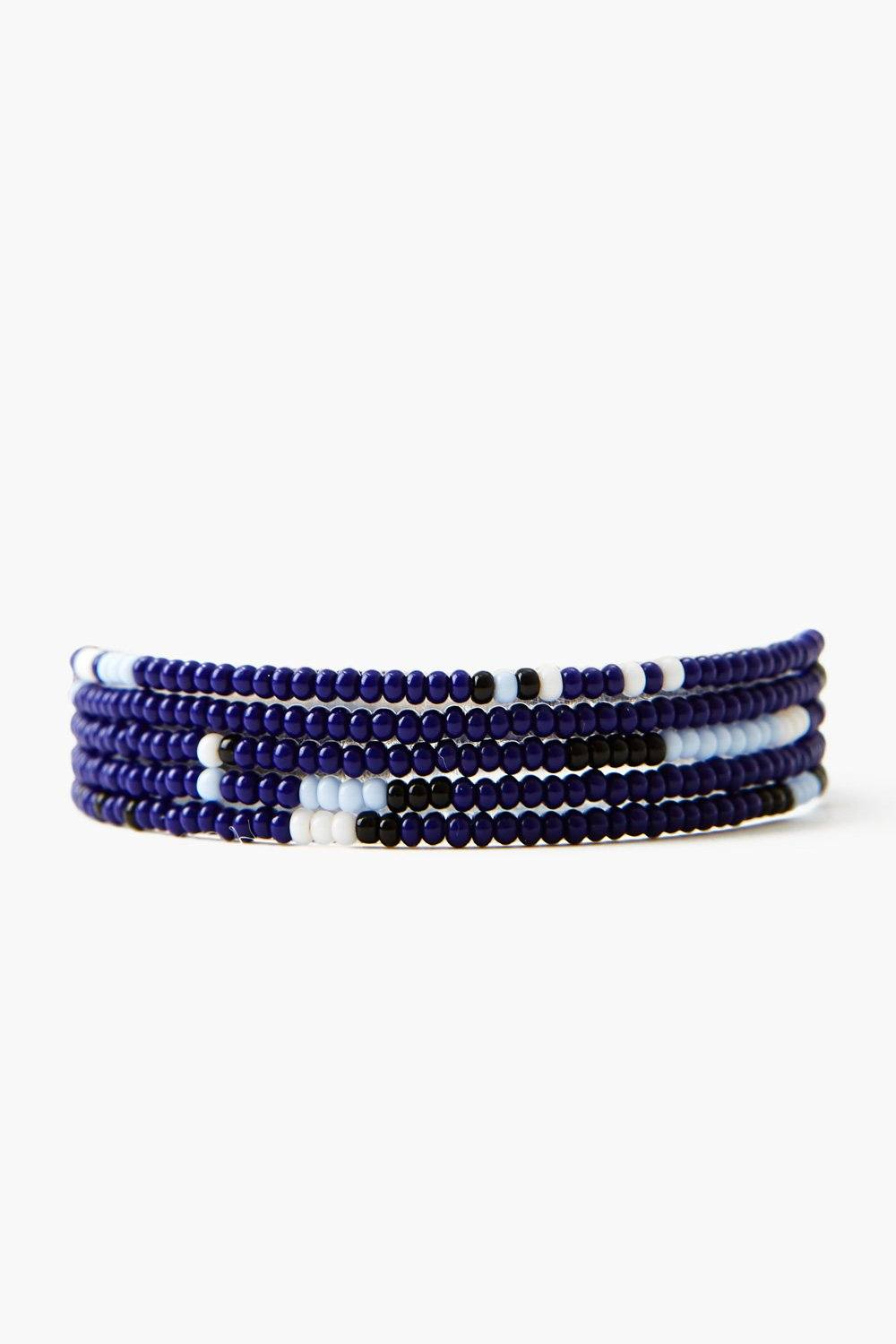 Chan Luu x Ethical Fashion Initiative Indigo Beaded Naked Wrap Bracelet