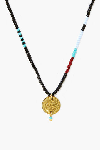 Chan Luu x Ethical Fashion Initiative Black Beaded Gold Coin Necklace