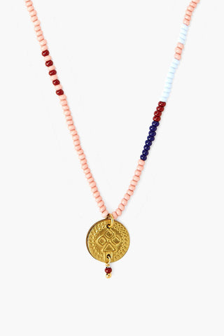 Chan Luu x Ethical Fashion Initiative Coral Beaded Gold Coin Necklace