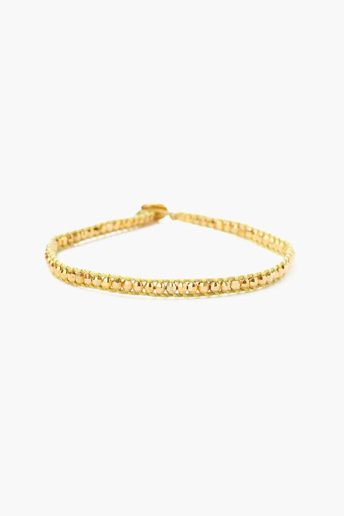Yellow Gold Anklet on Lemongrass Cord