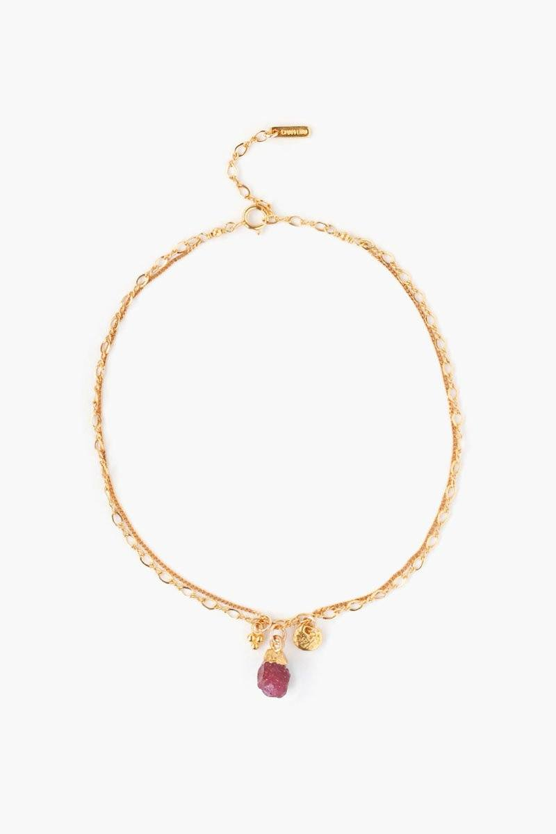 Ruby Rough Cut Anklet