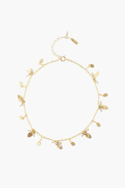Yellow Gold Leaf Charm Anklet