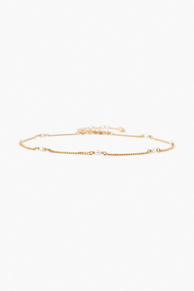White Pearl and Gold Anklet