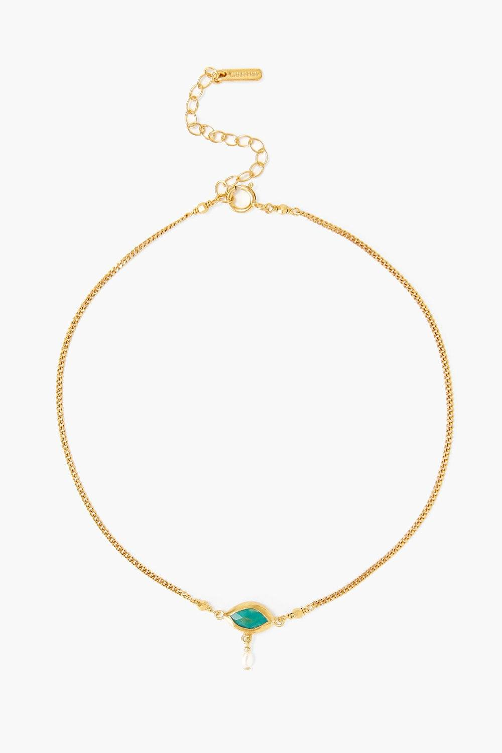 Pearl and Turquoise Evil Eye Anklet