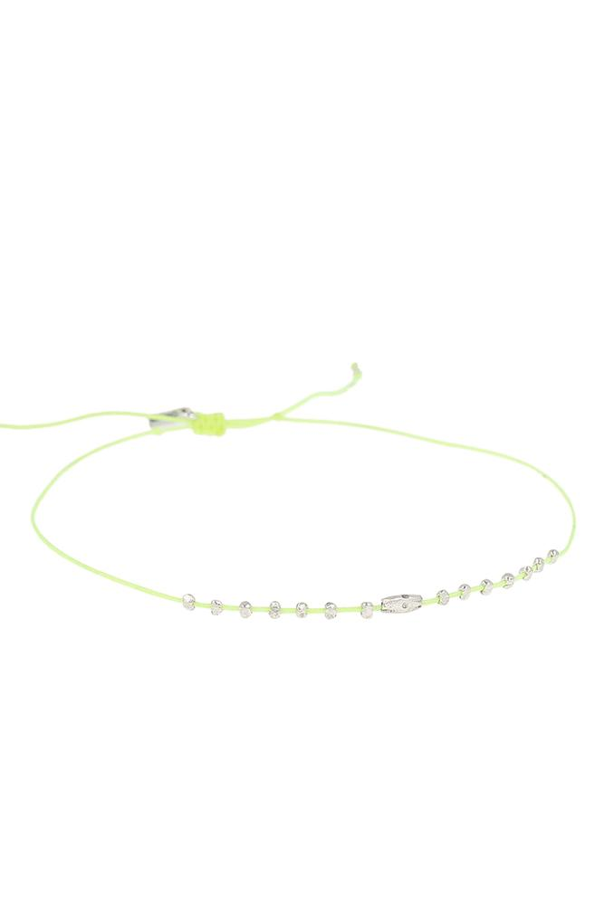 Sunny Lime Silver Bead Anklet
