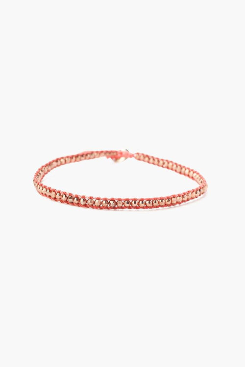 Rose Gold Anklet on Chinese Coral Cord