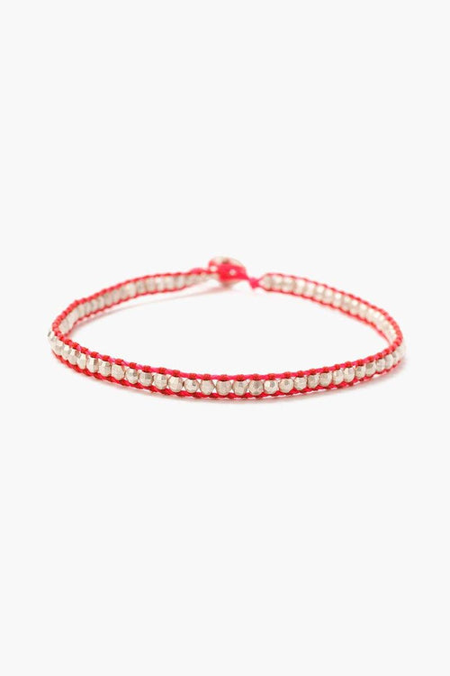 Silver Anklet on Bright Coral Cord