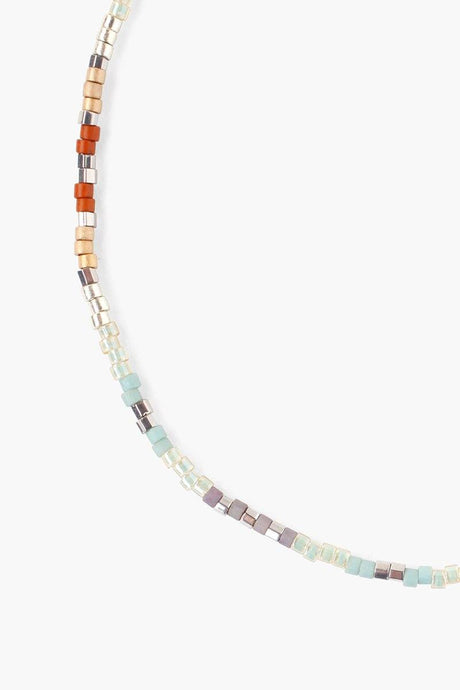Seafoam Mix Seed Bead Pull-Tie Anklet