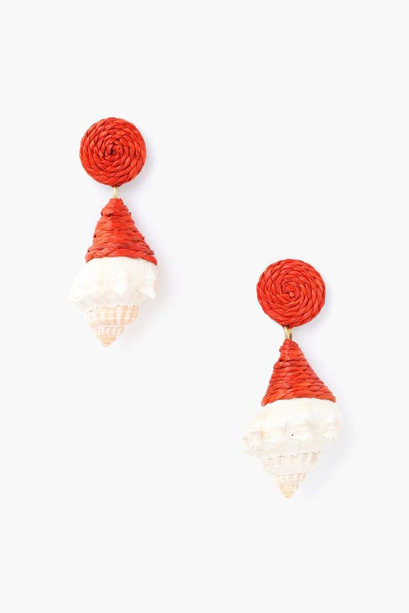 Brick Raffia and Shell Earrings