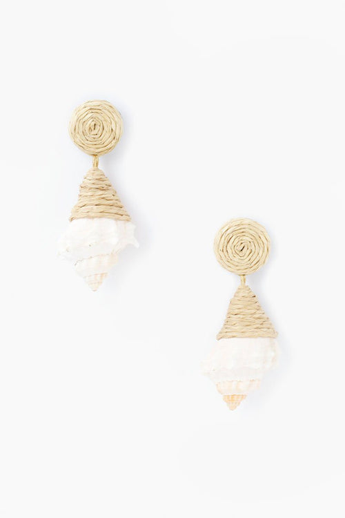 Natural Raffia and Shell Earrings