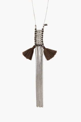 Sepia and Silver Tassel Chains Necklace