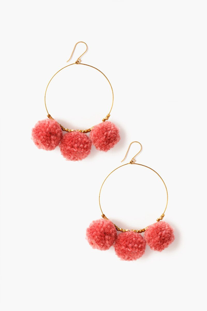Lilas Pom Pom Hoop Earrings