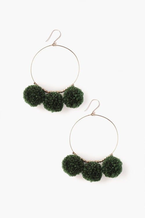 Urban Chic Pom Pom Hoop Earrings