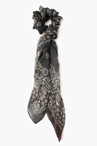 Black Ornate Floral Print Bandana With Tassels