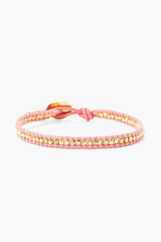 Gold Nugget and Pink Leather Single Wrap Bracelet