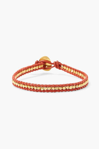 Gold Nugget and Red Leather Single Wrap Bracelet