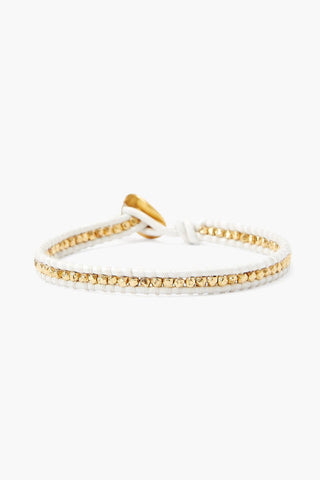 Gold Nugget and White Leather Single Wrap Bracelet