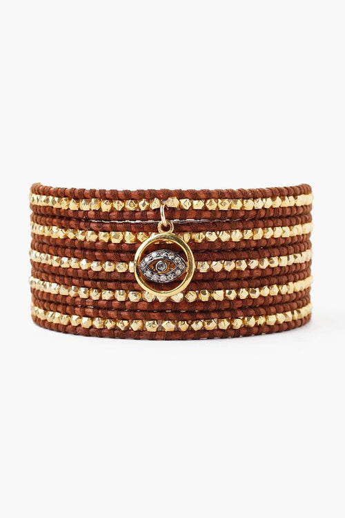 Diamond Evil Eye Charm Wrap Bracelet With Gold Nuggets