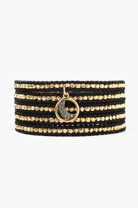 Diamond Moon Charm Wrap Bracelet With Gold Nuggets