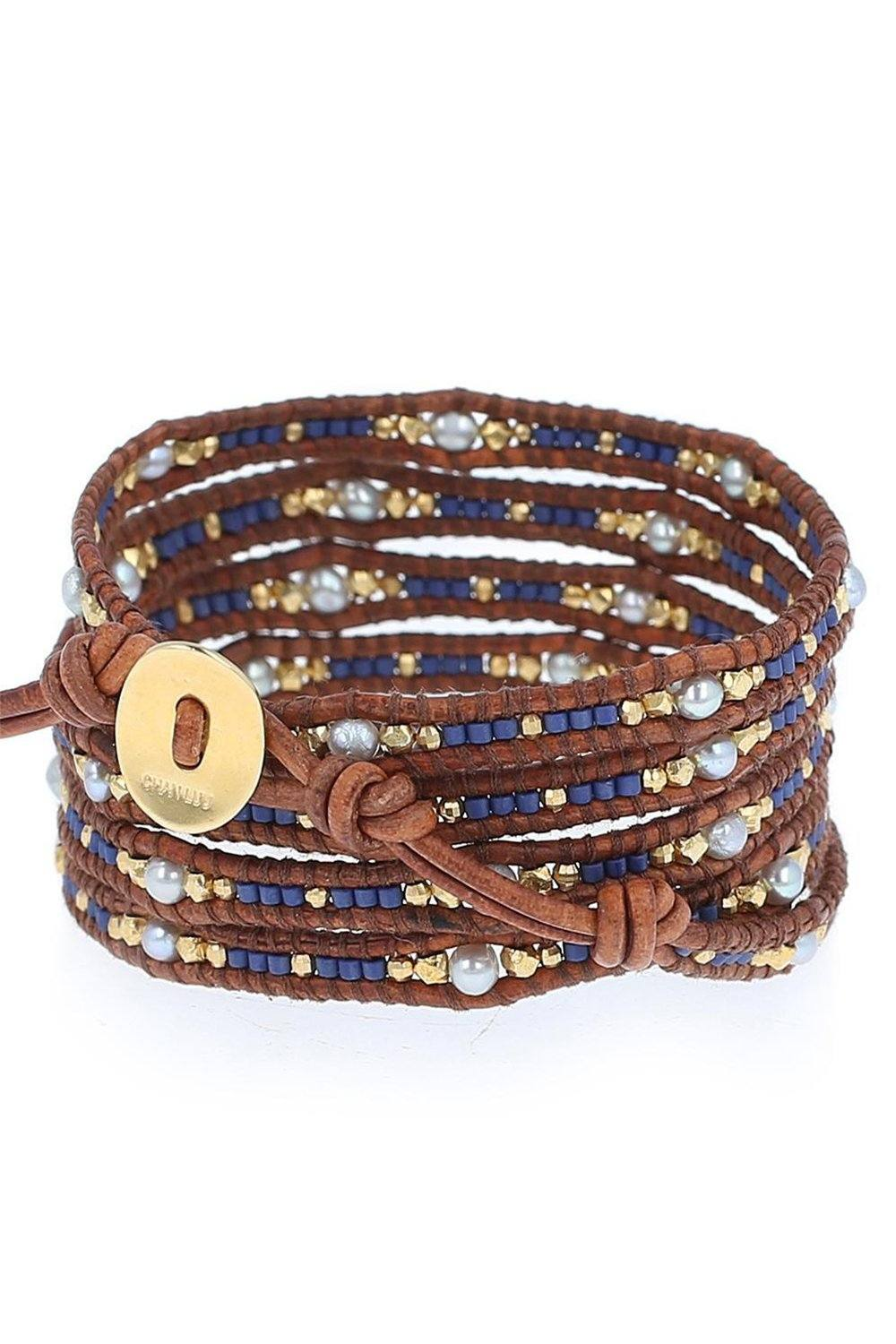 Blue Mix Seed Bead Wrap Bracelet on Natural Brown Leather