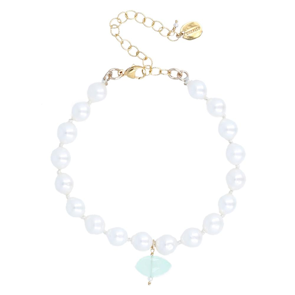 White Pearl and Charm Adjustable Bracelet