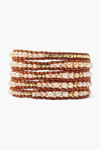 Champagne Pearl Graduated Wrap Bracelet