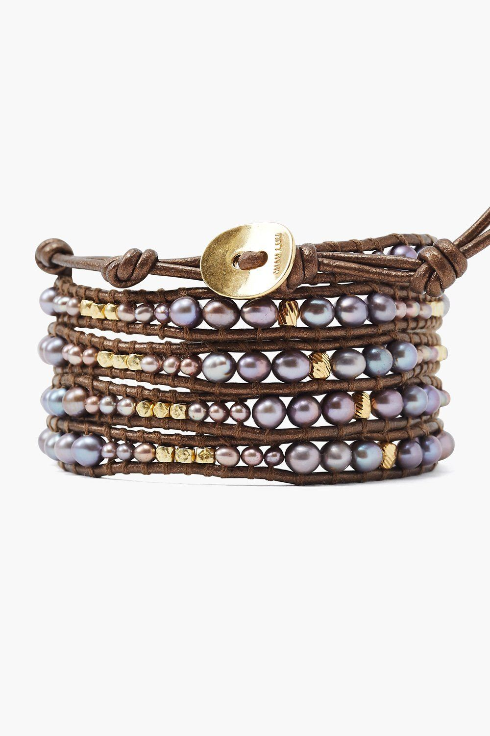 Taupe Pearl Graduated Wrap Bracelet