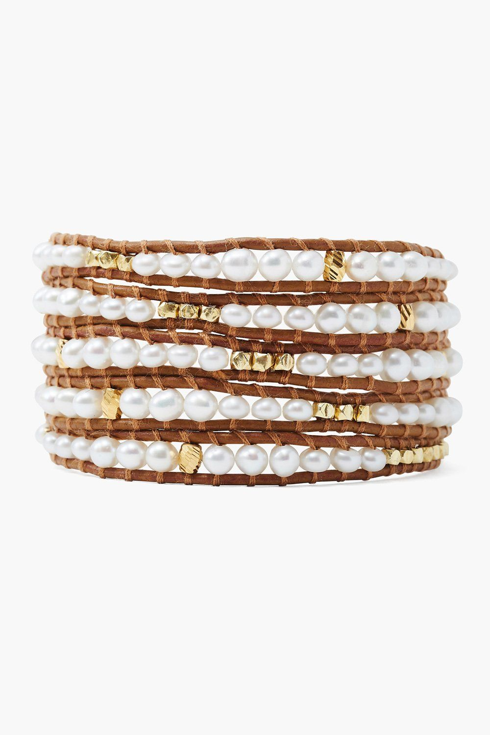 White Pearl Graduated Wrap Bracelet