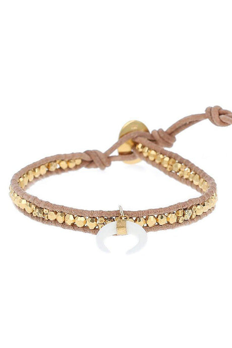 Yellow Gold Single Wrap Bracelet with White Bone Horn Charm