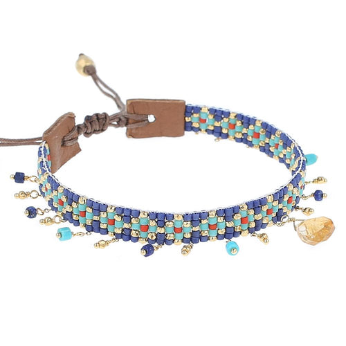 Blue Mix Beaded Charm Pull-Tie Bracelet