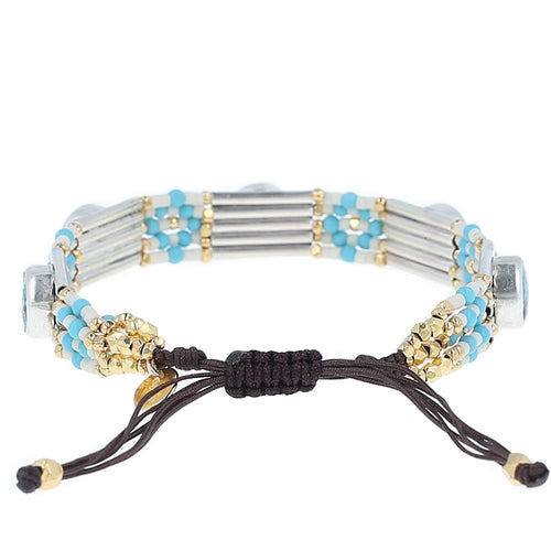 Turquoise Mix Adjustable Statement Bracelet