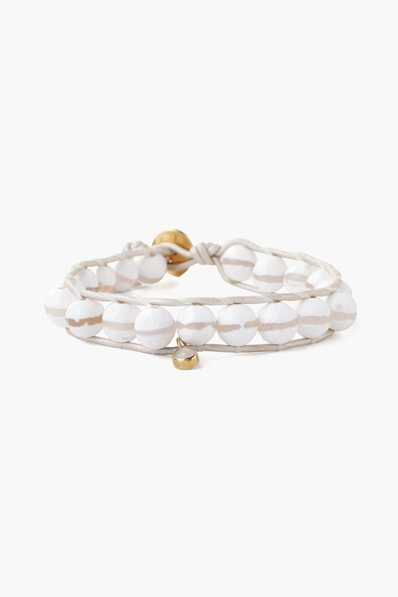 White Lined Agate Charm Single Wrap Bracelet
