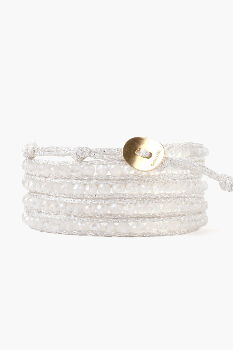 Mystic Clear Five Wrap Bracelet on Mokuba Cord