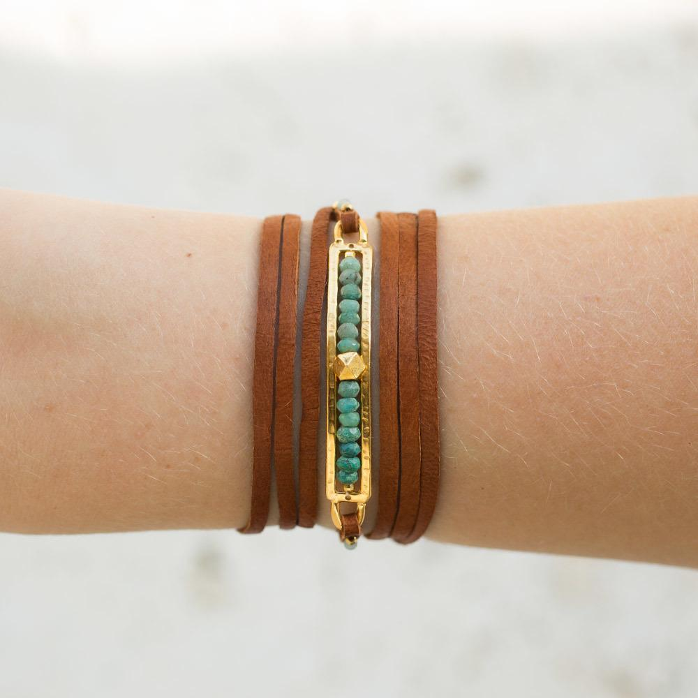 Shaded Green Opal Flat Leather Bracelet