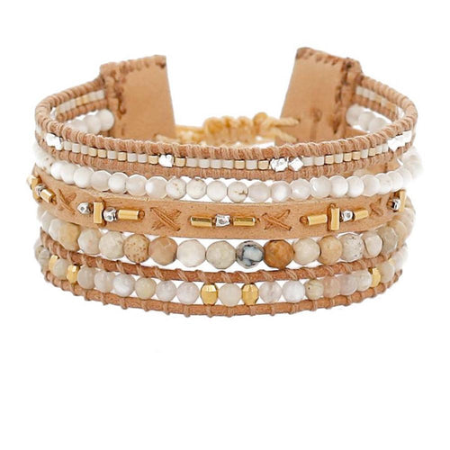 Natural Mix Multi Strand Pull-Tie Bracelet
