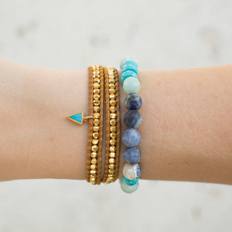 Gold Double Wrap Bracelet with Turquoise Charm