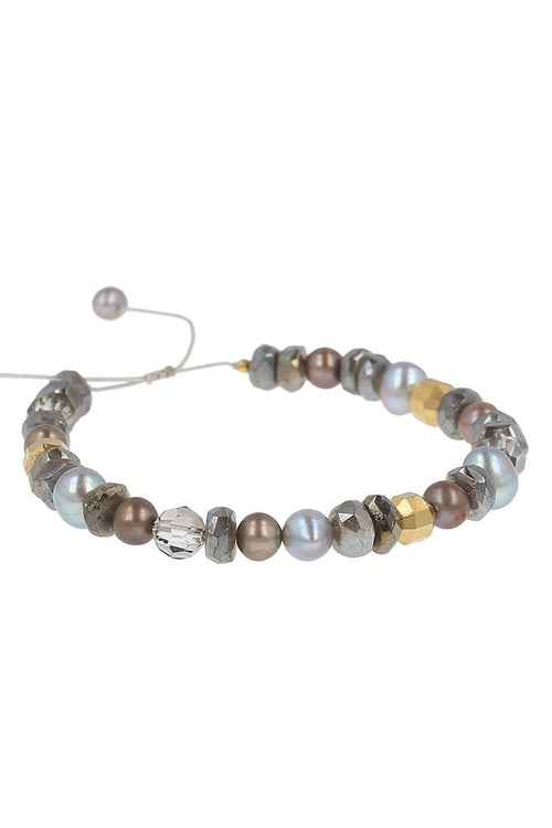 Grey Mix Pull-Tie Bracelet