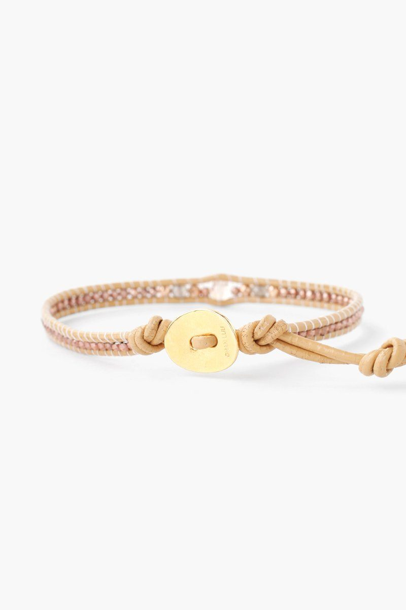 Rose Gold Mix Pendant Single Wrap Bracelet on Petal Leather