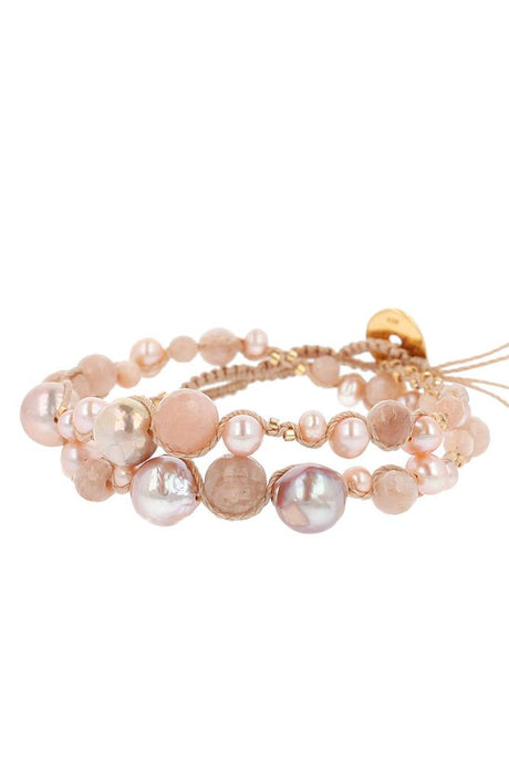Pink Pearl Mix Double Wrap Bracelet