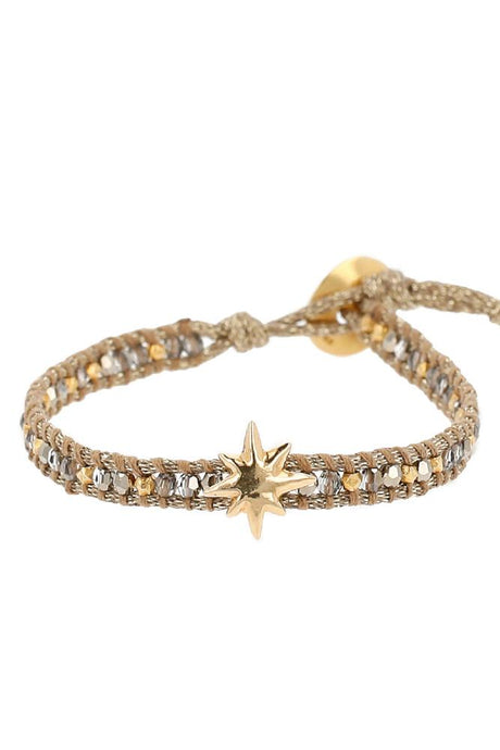 Metallic Light Gold Mokuba Single Wrap Bracelet