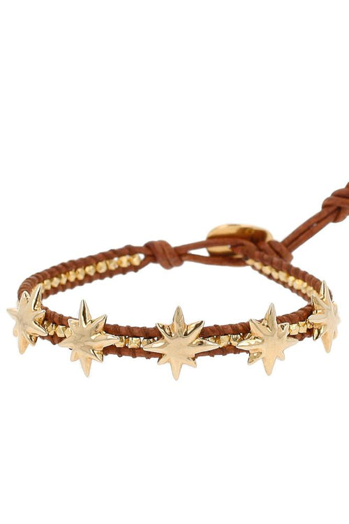 Yellow Gold Star Single Wrap Bracelet on Natural Brown Leather
