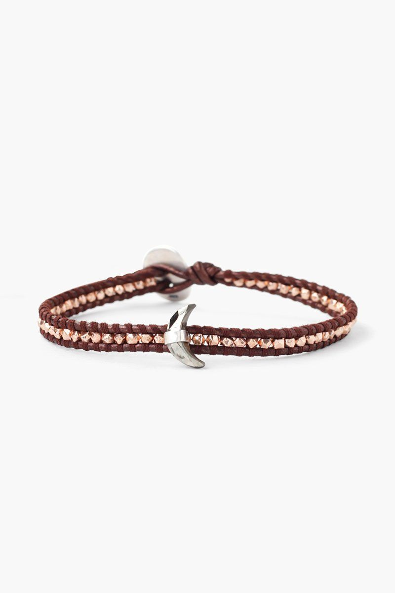 Rose Gold Tamba Pyrite Moon Pendant Single Wrap Bracelet