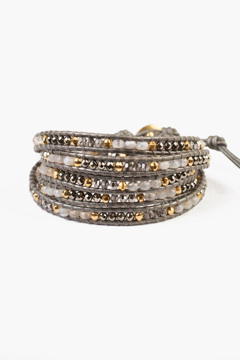 Grey Botswana Agate Mix Five Wrap Bracelet